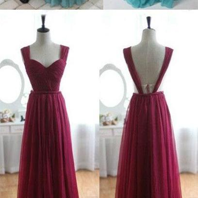 Elegant Sweetheart Backless Burgundy Chiffon Bridesmaid Dress, Burgundy Prom Dresses,Prom Dresses,Formal dresses