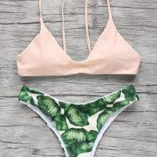 Spaghetti Straps Palm Tree Bikini - Light Apricot Pink S