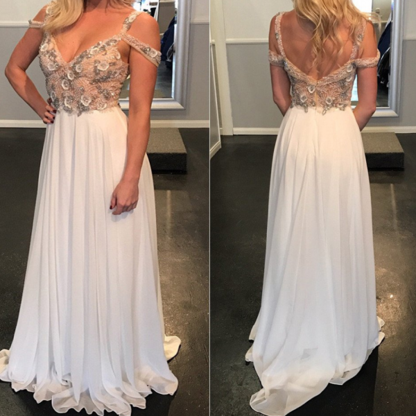Cheap prom dresses 2017,unique chiffon off shoulder beaded charming long prom dress,