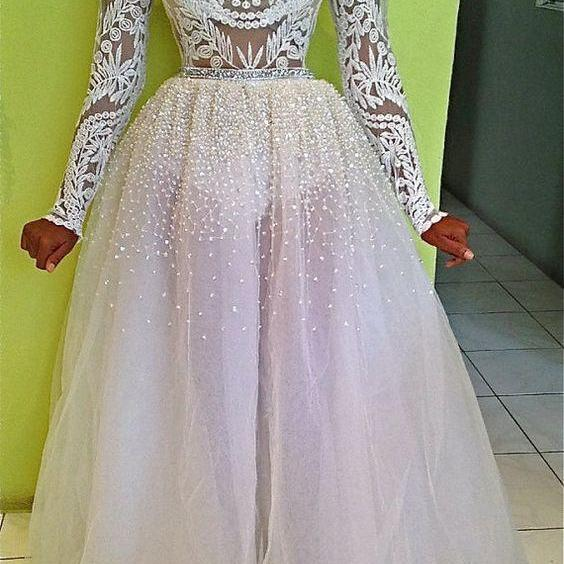 Cheap prom dresses 2017,long prom dresses, white lace evening dresses, sparkling prom party dresses, cheap long sleeves prom dresses with beading, prom dresses