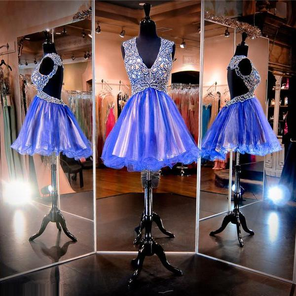 Cheap homecoming dresses 2017,Sparkle Royal Blue Prom Dresses,V-Neck Prom Dresses,Short Prom Dresses,Junior Prom Dresses,Tulle Prom Dresses,Sexy Backless Homecoming Dresses,Evening Dress