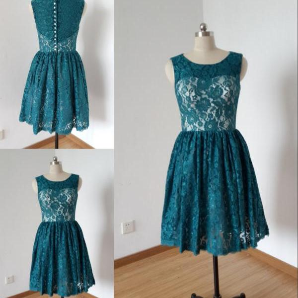 New Teal Lace Short Bridesmaid Dresses 2017 Vintage Designer Sheer Neck Hollow Back Empire Pleated Cheap Bridesmaid Dresses Wedding Party Dress Homecoming Dresses
