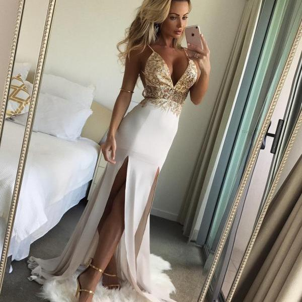 Cheap prom dresses 2017,Backless Long Chiffon Evening Dress with Slits ,Gold Lace Appliques Deep V-neck Prom Dresses