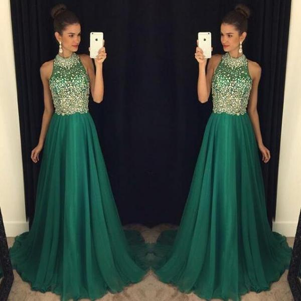 Cheap prom dresses 2017,2017 Hot Sale A Line Long Prom Dresses Halter Sleeveless Crystals Evening Dresses Illusion Celebrity Pageant Dresses Special Occasion Dresses