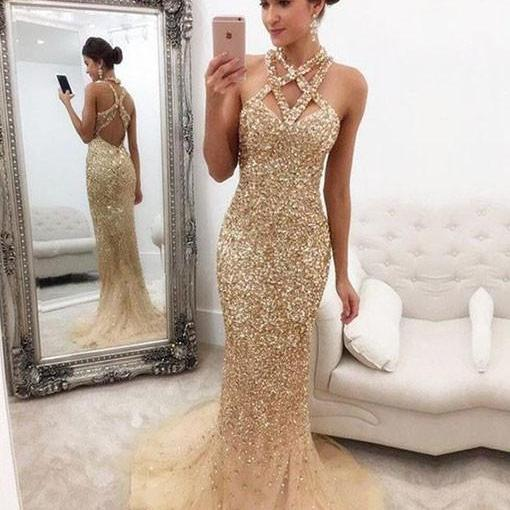 Cheap prom dresses 2017,Champagne Beaded Mermaid Prom Dress,Long Evening Dress,Tulle Open Back Prom Dresses