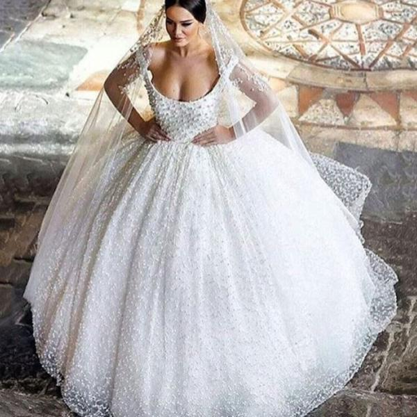 Cheap wedding dresses 2017,Ball Gown Wedding Dress 2017,Bling Wedding Dress,Scoop Neckline Wedding Dress with Belt,Luxury Vestido de Novia