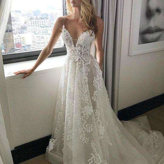 Cheap wedding dresses 2017,Simple Spaghetti Straps Sweep Train Backless Wedding Dress with Appliques