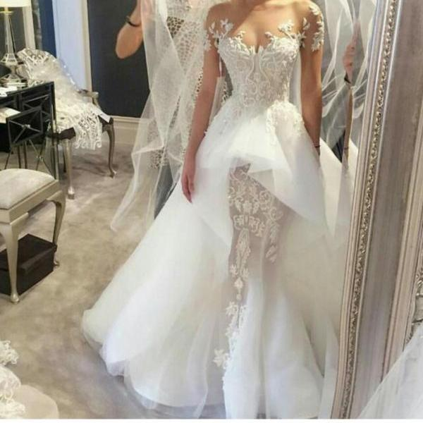 Cheap wedding dresses 2017,2017 Beautiful Elegant Lace Wedding Dresses Off Shoulder Illusion Beaded appliques Sleeveless Court Train Overskirts Bridal Gowns