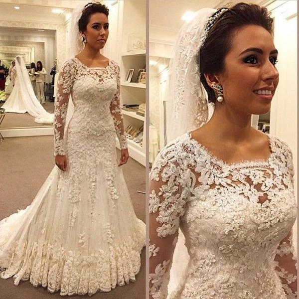 Cheap wedding dresses 2017,Elegant White Lace Muslim Long sleeves wedding dresses sexy sheath floor length bridal gown vestidos de noiva custom made