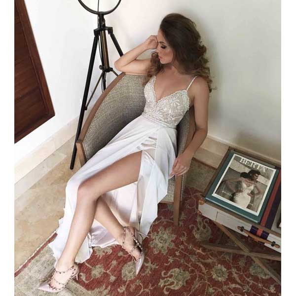 Cheap prom dresses 2017, Sexy White Spaghetti Straps Lace Bodice Front Slit Prom Dress,Long Chiffon Prom Dress with slit