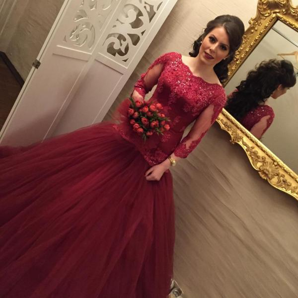 Cheap prom dresses 2017, Mermaid Evening Dress, Burgundy Evening Dress, Lace Applique Evening Dress, Rhinestones Evening Dress, Cheap Evening Dress, Scalloped Evening Dress, Beaded Evening Dress, Elegant Evening Dress, Gorgeous Evening Gown