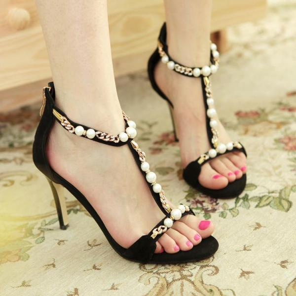 Women's Leather Stiletto Peep Toe High Heel Pumps Sandals With Back Zippers