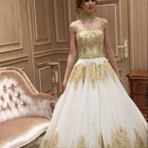 Cheap wedding dresses 2017,Gold Applique Wedding Dress, A Line Wedding Dress, Vintage Wedding Dress, Elegant Wedding Dress, Cheap Wedding Dress, 2017 Bridal Dresses, High Neck Wedding Dress, Saudi Arabic Wedding Gown, Luxury Wedding Dress, Gorgeous Wedding Dress