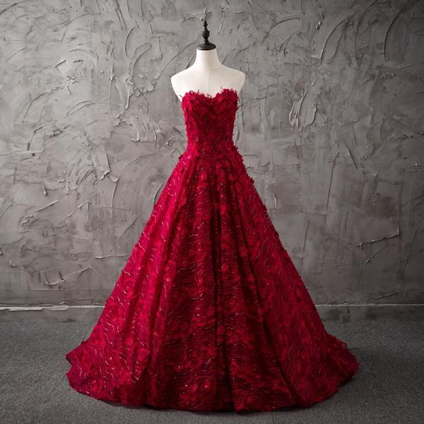 Cheap wedding dresses 2017,burgundy wedding dress,lace wedding dress,sweetheart dress,princess bride dress,elegant wedding gowns