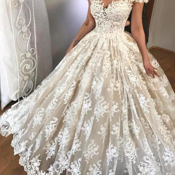 Cheap wedding dresses 2017,Sexy Wedding Dress 2017 , Off Shoulder Wedding Dress , Ball Gown Wedding Dress , Short Sleeves Bride Dresses , Back Lace Up Bridal Gowns ,Lace Wedding Gowns