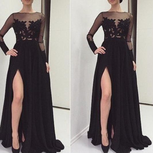 Cheap prom dresses 2017,2017 Sexy Black Appliques Prom Dresses ,O-Neck Prom Dresses, Real Made Prom Dresses, Chiffon Prom Dresses On Sale