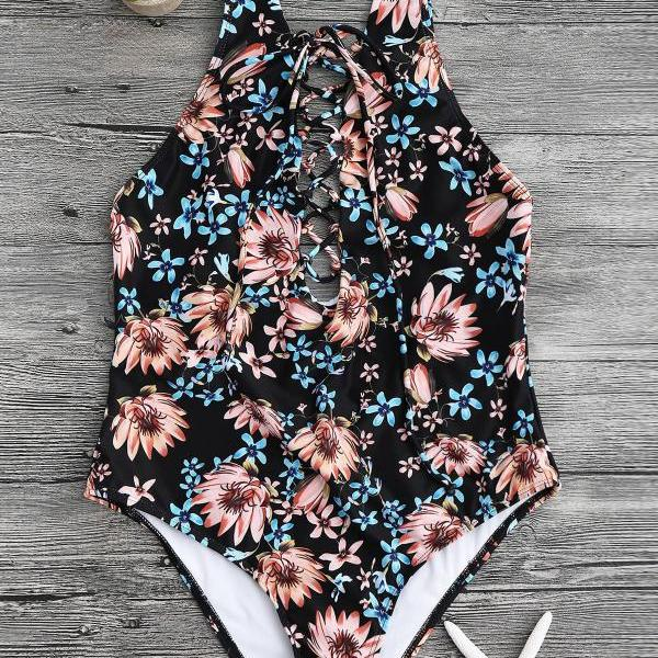 Floral Print Lace Up One P..