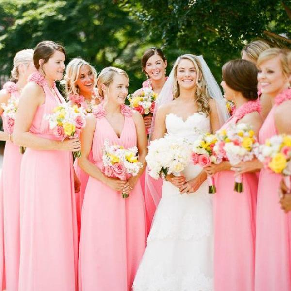 Cheap bridesmaid dresses 2017,Junior Bridesmaid Dresses, Long Chiffon Bridesmaids Dresses ,A Line V Neck Natural Waist Covered Button Floor Length Wedding Guests Dress