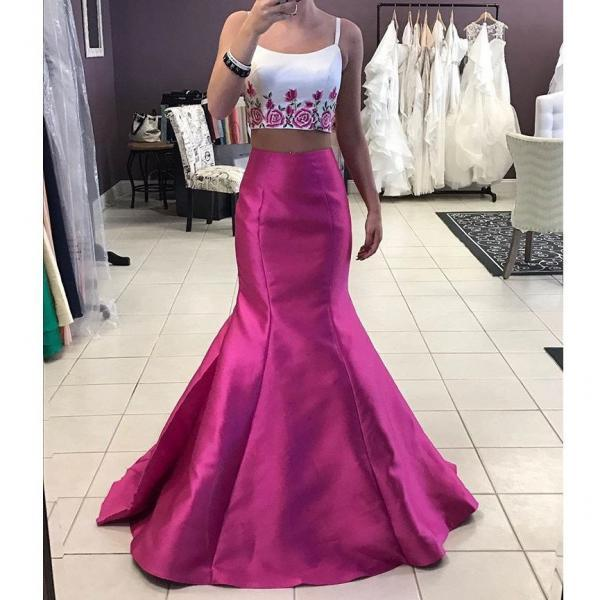 Two Piece Prom Dresses, Embroidery Flower Evening Dress, Mermaid Evening Dress, Elegant Evening Dress, Sexy Evening Dress, Hot Pink and White Evening Dress, Long Evening Dress, Cheap Formal Dresses Long