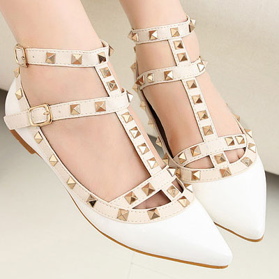 White Pointed Toe T- Strap Studded Ballerina Pumps