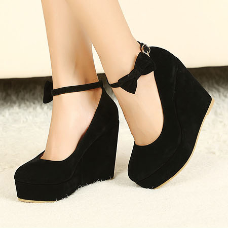 Wedges Black Suede Ankle Strap Pumps
