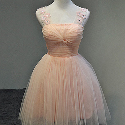 Lace Homecoming Dresses,Straps pink Cute Homecoming Dress Tulle Short Prom Dress Bridesmaid Dresses