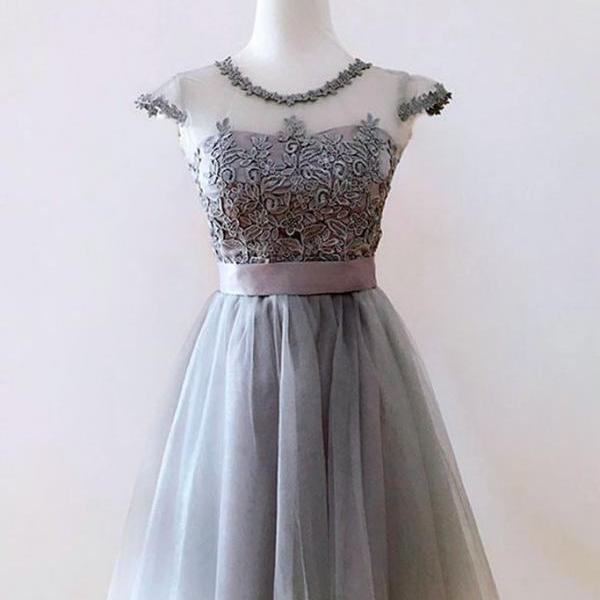 Cheap homecoming dresses 2017,Cheap homecoming dresses 2017,Cute gray tulle short prom dress,gray homecoming dress with sash