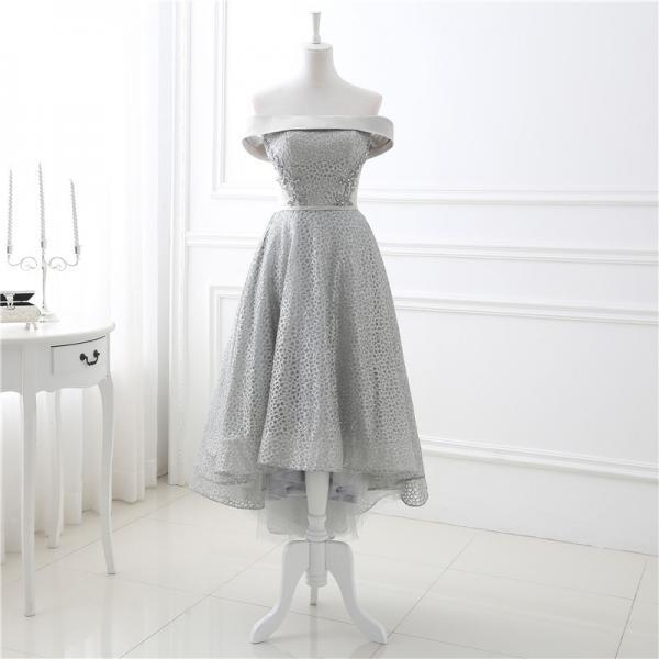 Sexy High Low Prom Dress, Off the Shoulder Prom Dresses,Grey Evening Gowns Party Cocktail dress