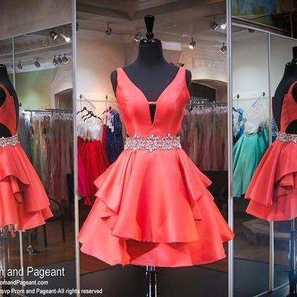 Cheap homecoming dresses 2017,Coral V-Neck Short Homecoming Dress,V-neck Sleeveless Prom Dresses,Teens Party Dresses,Graduation Dress