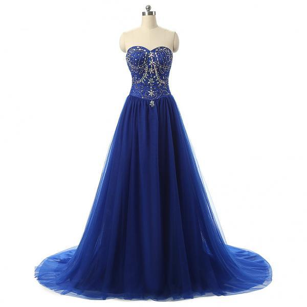 Cheap prom dresses 2017,A-Line Prom Dress Featuring Crystal Embellished Sweetheart Bodice and Sweep Train