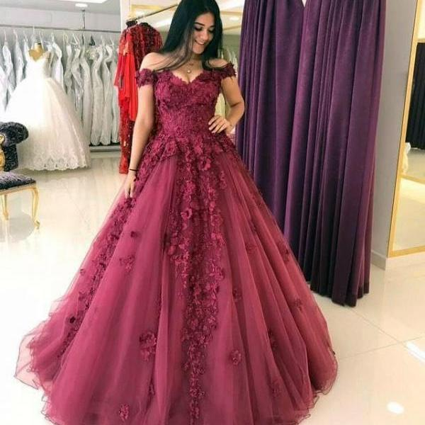 Cheap prom dresses 2017,Lace Appliques Prom Dresses Ball Gowns,Tulle Quinceanera Dress,