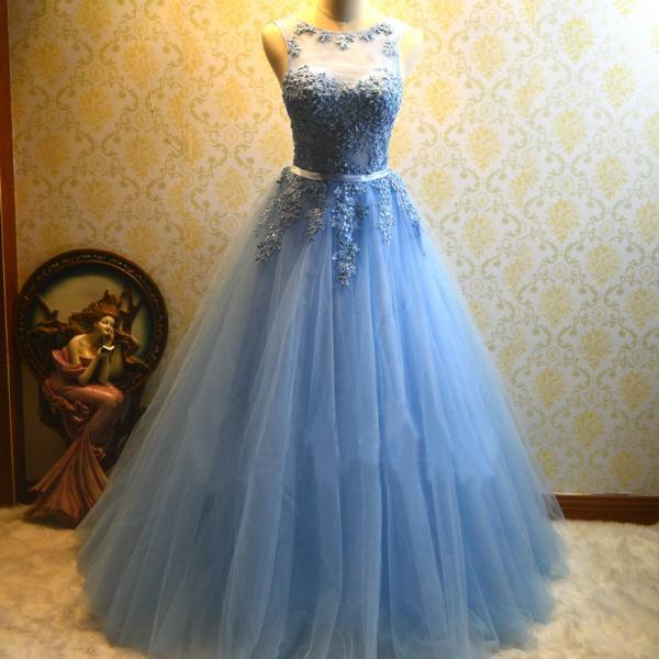 Cheap prom dresses 2017,Ball Gown Blue Prom Dress,Tulle Appliques Prom Dress,Long Quinceanera Dresses