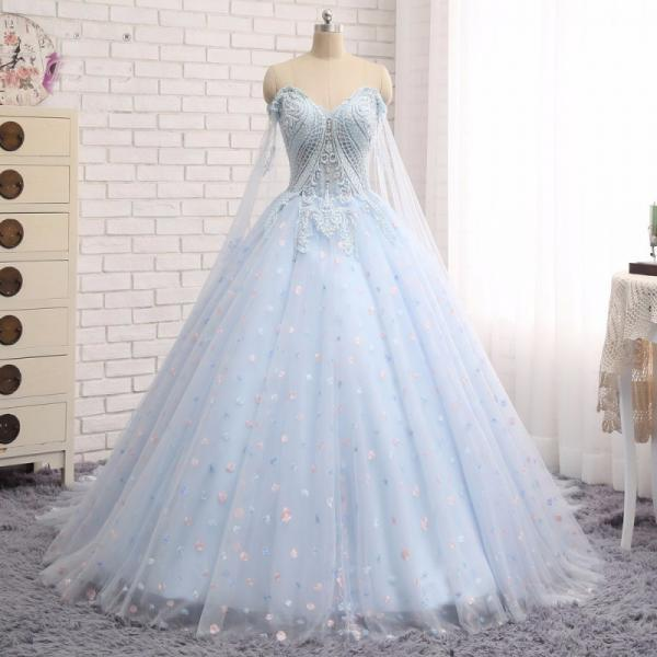 Cheap prom dresses 2017,Charming Prom Dress,Ball Gown Prom Dress,Light Blue Tulle Prom Dresses,