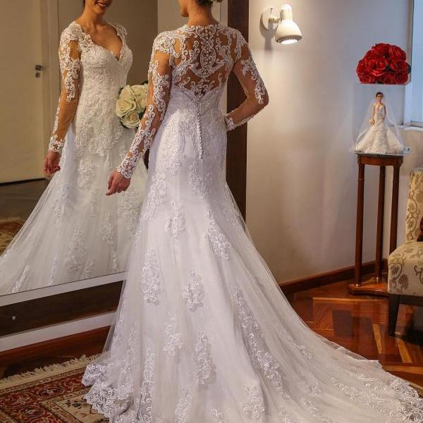 Cheap wedding dresses 2017,Long Sleeves Trumpet Lace Wedding Dress with Deep V Neck
