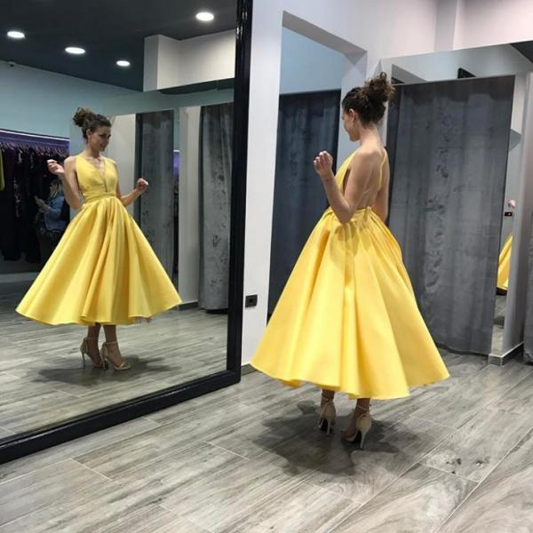 Backless Homecoming Dresses, Open Back Homecoming Dresses,Backless Satin Midi Prom Dress in Yellow ,