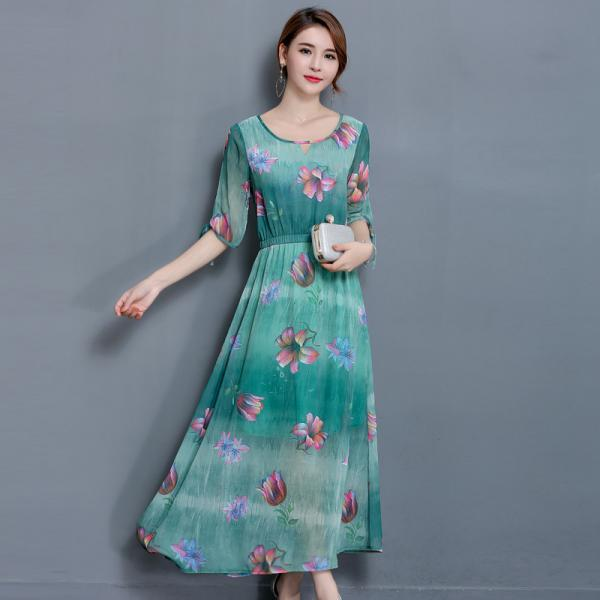 New Round Neck Short Sleeve Floral Splicing Dress