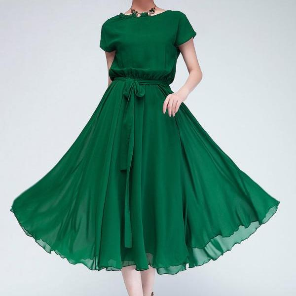 Beautiful Short Sleeve Green Chiffon Dress