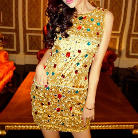 Sequins fashion Slim package hip dress short paragraph