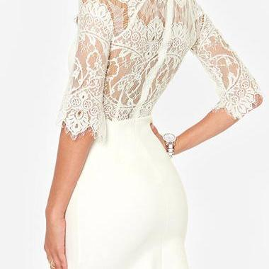 Hot Sale Round Neck Chiffon Dress with Lace - White