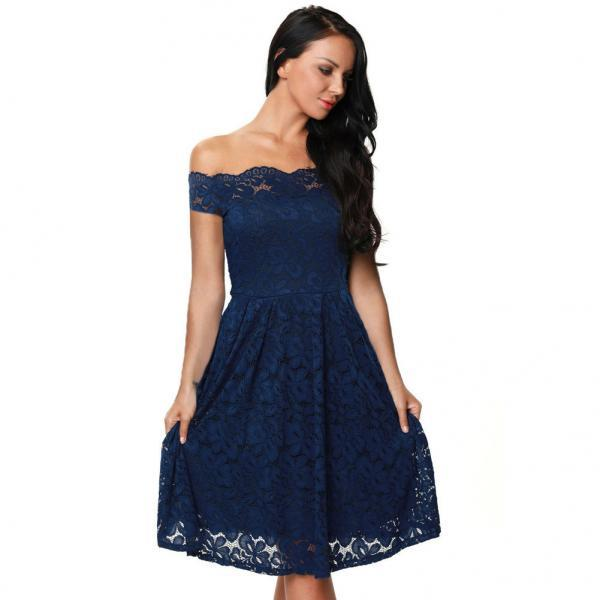 Romantic Petal Edge Boat Neck Lace Dress