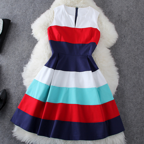 Summer fashion color stripe sleeveless dress