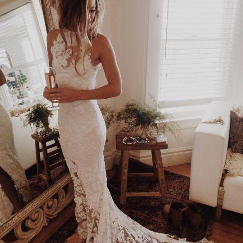 Wedding Dress,Custom Made White Lace Wedding Dresses,Halter Bridal Dress