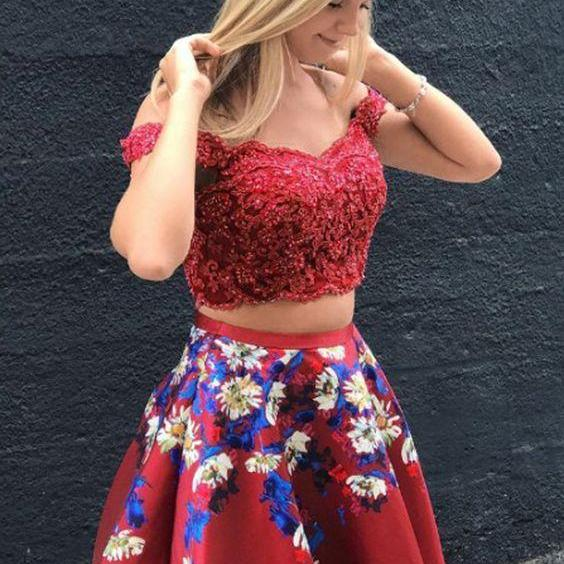 Two Piece Off-the-Shoulder Short Burgundy Satin Homecoming Dress with Embroidery