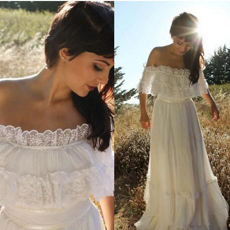 2018 Vintage Country Style Bohemian Wedding Dress Off the Shoulder Lace Trim Chiffon Beach Garden Boho Bridal Gowns Full Length