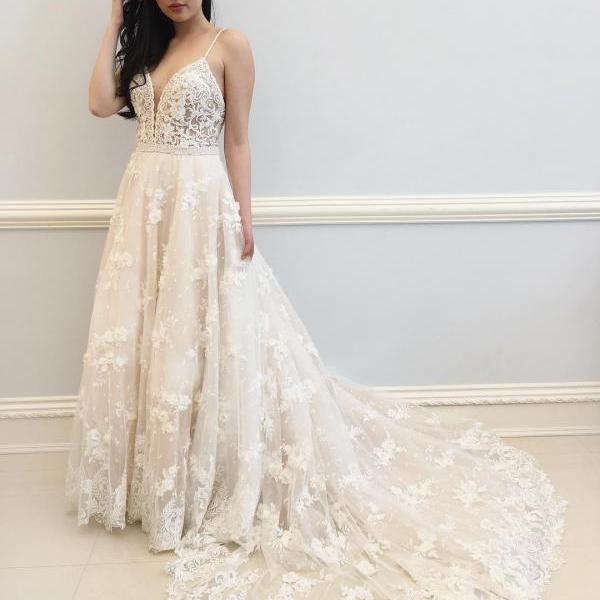 Sexy Straps White Lace Long Wedding Dress