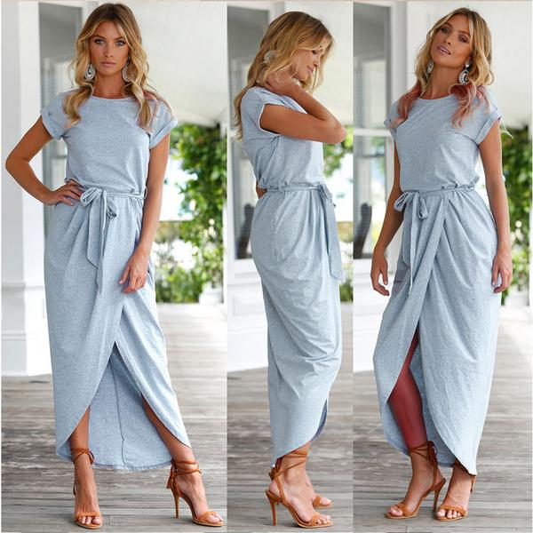 Pure Color Irregular Straps Belt Long Dress
