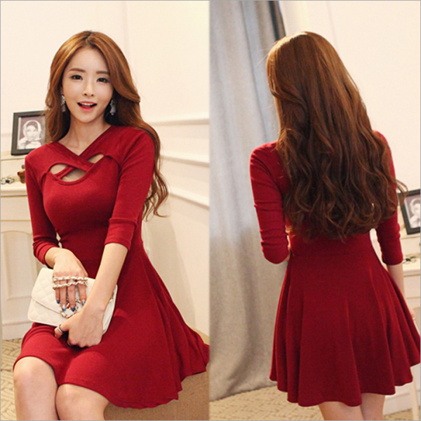 Sexy Hollow Collar Pleated Half Sleeve Dress