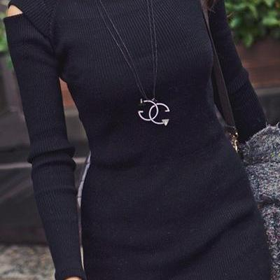 Casual O Neck Off The Shoulder Long Sleeves Black Cotton Blend Sheath Mini Dress