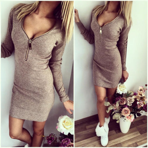 Sexy V Neck Long Sleeves Zipper Design Grey Sheath Mini Dress