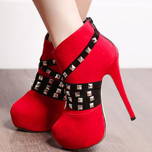 Red Rivets Stiletto Heels Fashion Boots